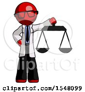 Red Doctor Scientist Man Holding Scales Of Justice