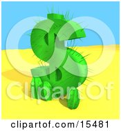 Poster, Art Print Of Green Cactus In The Shape Of A Dollar Sign Growing In The Desert