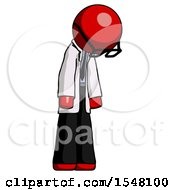 Red Doctor Scientist Man Depressed With Head Down Turned Right