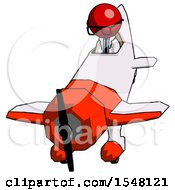 Red Doctor Scientist Man In Geebee Stunt Plane Descending Front Angle View