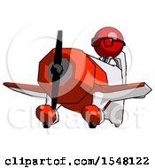 Red Doctor Scientist Man Flying In Geebee Stunt Plane Viewed From Below