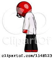 Red Doctor Scientist Man Depressed With Head Down Back To Viewer Left