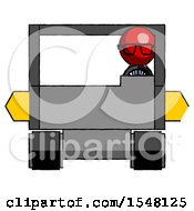 Red Doctor Scientist Man Driving Amphibious Tracked Vehicle Front View