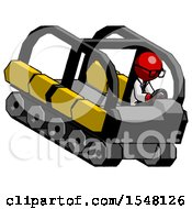 Red Doctor Scientist Man Driving Amphibious Tracked Vehicle Top Angle View