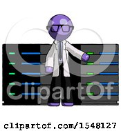 Purple Doctor Scientist Man With Server Racks In Front Of Two Networked Systems