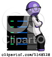 Purple Doctor Scientist Man Resting Against Server Rack Viewed At Angle