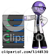 Purple Doctor Scientist Man With Server Rack Leaning Confidently Against It