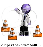 Purple Doctor Scientist Man Standing By Traffic Cones Waving