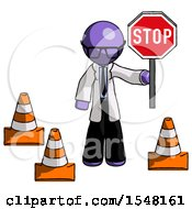 Purple Doctor Scientist Man Holding Stop Sign By Traffic Cones Under Construction Concept