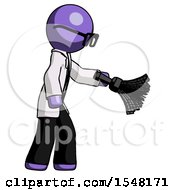 Purple Doctor Scientist Man Dusting With Feather Duster Downwards
