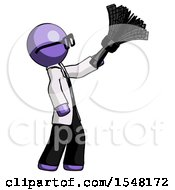 Purple Doctor Scientist Man Dusting With Feather Duster Upwards