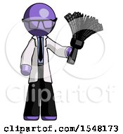 Purple Doctor Scientist Man Holding Feather Duster Facing Forward
