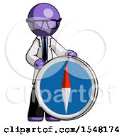 Purple Doctor Scientist Man Standing Beside Large Compass