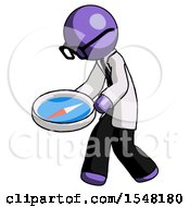 Purple Doctor Scientist Man Walking With Large Compass