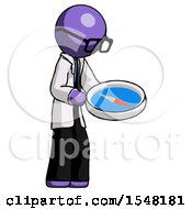 Purple Doctor Scientist Man Looking At Large Compass Facing Right