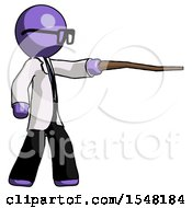 Purple Doctor Scientist Man Pointing With Hiking Stick