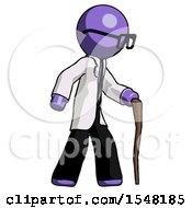 Purple Doctor Scientist Man Walking With Hiking Stick