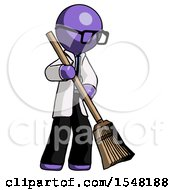 Purple Doctor Scientist Man Sweeping Area With Broom