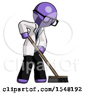 Purple Doctor Scientist Man Cleaning Services Janitor Sweeping Side View