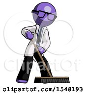 Purple Doctor Scientist Man Cleaning Services Janitor Sweeping Floor With Push Broom