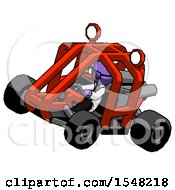 Purple Doctor Scientist Man Riding Sports Buggy Side Top Angle View