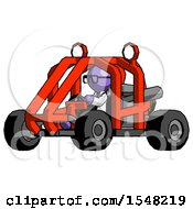 Purple Doctor Scientist Man Riding Sports Buggy Side Angle View