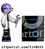 Purple Doctor Scientist Man Server Administrator Doing Repairs