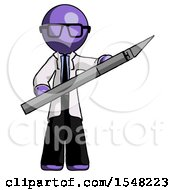 Purple Doctor Scientist Man Holding Large Scalpel