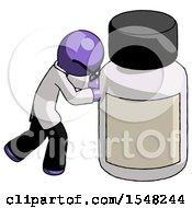 Purple Doctor Scientist Man Pushing Large Medicine Bottle