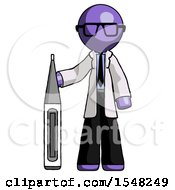 Purple Doctor Scientist Man Standing With Large Thermometer
