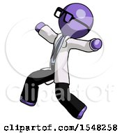 Purple Doctor Scientist Man Running Away In Hysterical Panic Direction Left