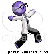 Purple Doctor Scientist Man Running Away In Hysterical Panic Direction Right