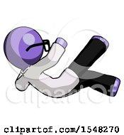 Purple Doctor Scientist Man Falling Backwards