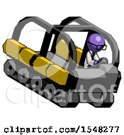 Purple Doctor Scientist Man Driving Amphibious Tracked Vehicle Top Angle View