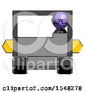 Purple Doctor Scientist Man Driving Amphibious Tracked Vehicle Front View
