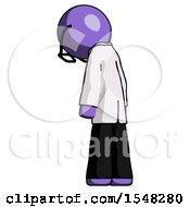 Purple Doctor Scientist Man Depressed With Head Down Back To Viewer Left