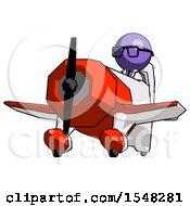 Purple Doctor Scientist Man Flying In Geebee Stunt Plane Viewed From Below