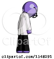 Purple Doctor Scientist Man Depressed With Head Down Back To Viewer Right