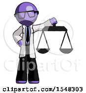 Purple Doctor Scientist Man Holding Scales Of Justice