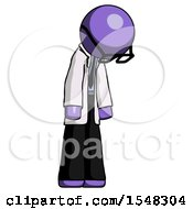 Purple Doctor Scientist Man Depressed With Head Down Turned Right