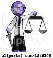 Purple Doctor Scientist Man Justice Concept With Scales And Sword Justicia Derived