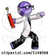 Purple Doctor Scientist Man Throwing Dynamite