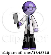 Purple Doctor Scientist Man Holding Meat Cleaver