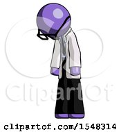 Purple Doctor Scientist Man Depressed With Head Down Turned Left