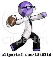 Purple Doctor Scientist Man Throwing Football