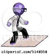 Purple Doctor Scientist Man On Postage Envelope Surfing