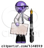 Purple Doctor Scientist Man Holding Large Envelope And Calligraphy Pen