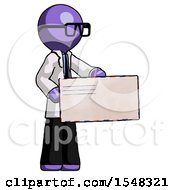 Purple Doctor Scientist Man Presenting Large Envelope