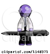 Purple Doctor Scientist Man Weightlifting A Giant Pen