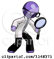 Purple Doctor Scientist Man Inspecting With Large Magnifying Glass Right
